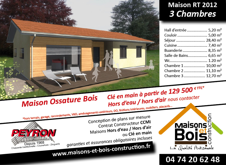 Rt 2012 maisons bois construction en is re 38 for Prix maison hors d eau hors d air 130m2